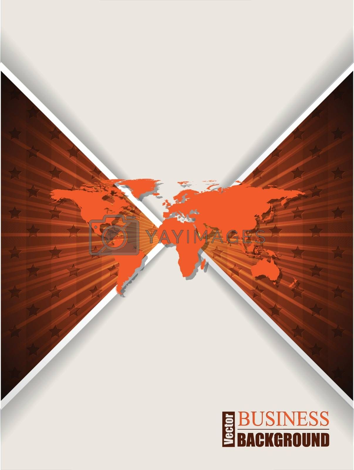Abstract orange brochure with stars and world map by vipervxw