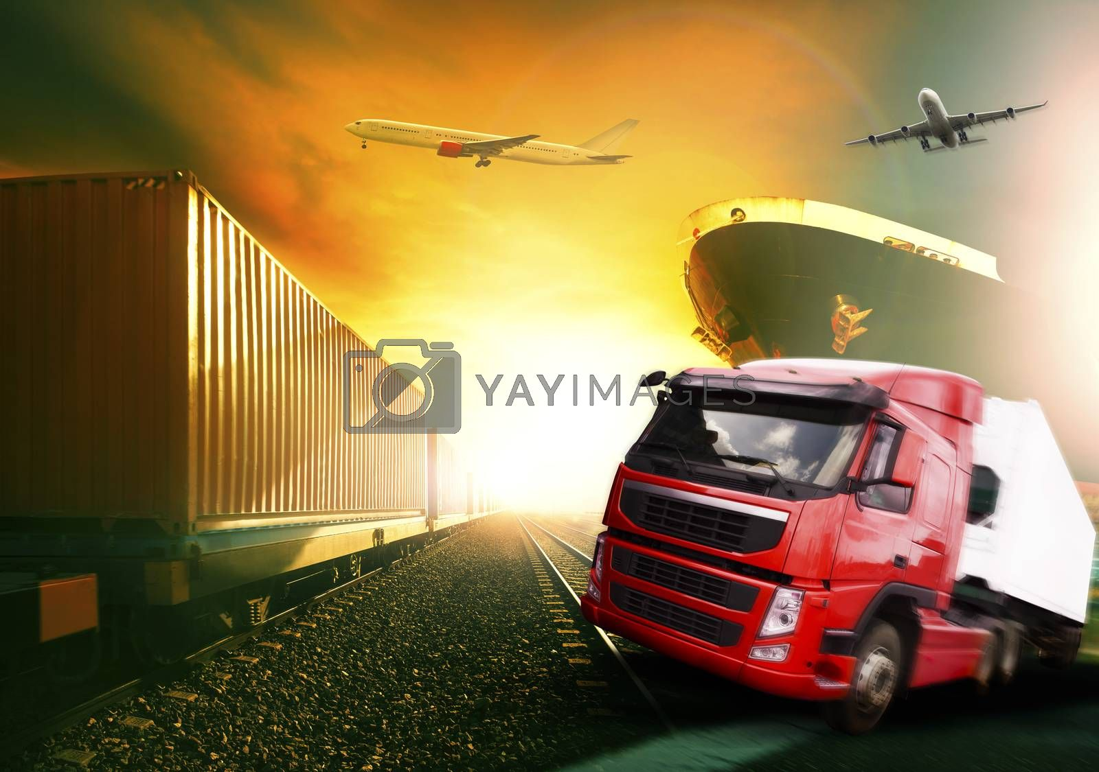 truck plane trains and ship in transportation industrial logistic business