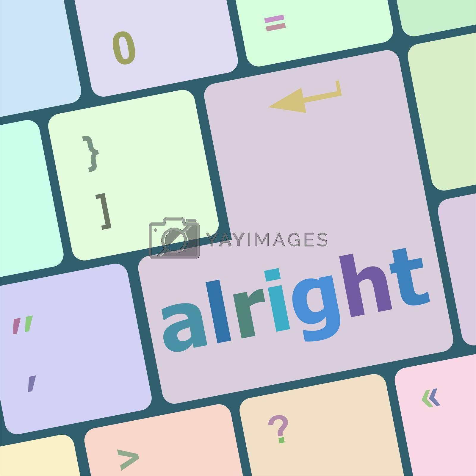 Computer keyboard button with alright word on it