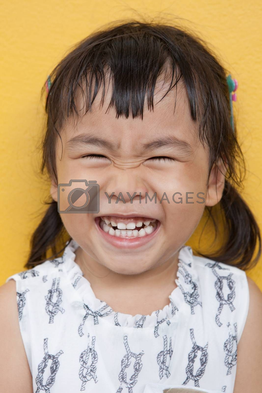 face of asian 4s year old laughing show good healthy tooth ,happy emotion