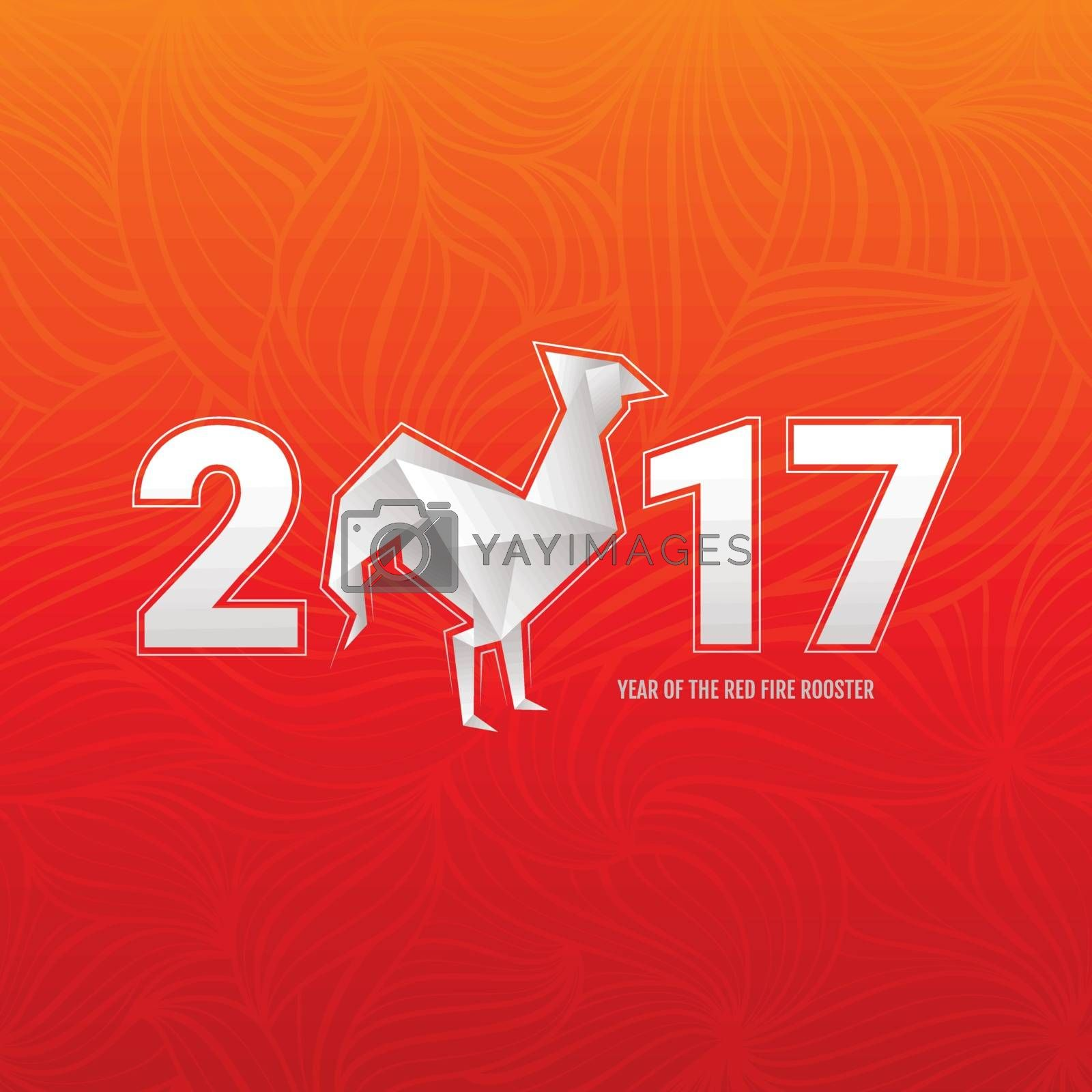 Chinese new year card with rooster. Vector illustration