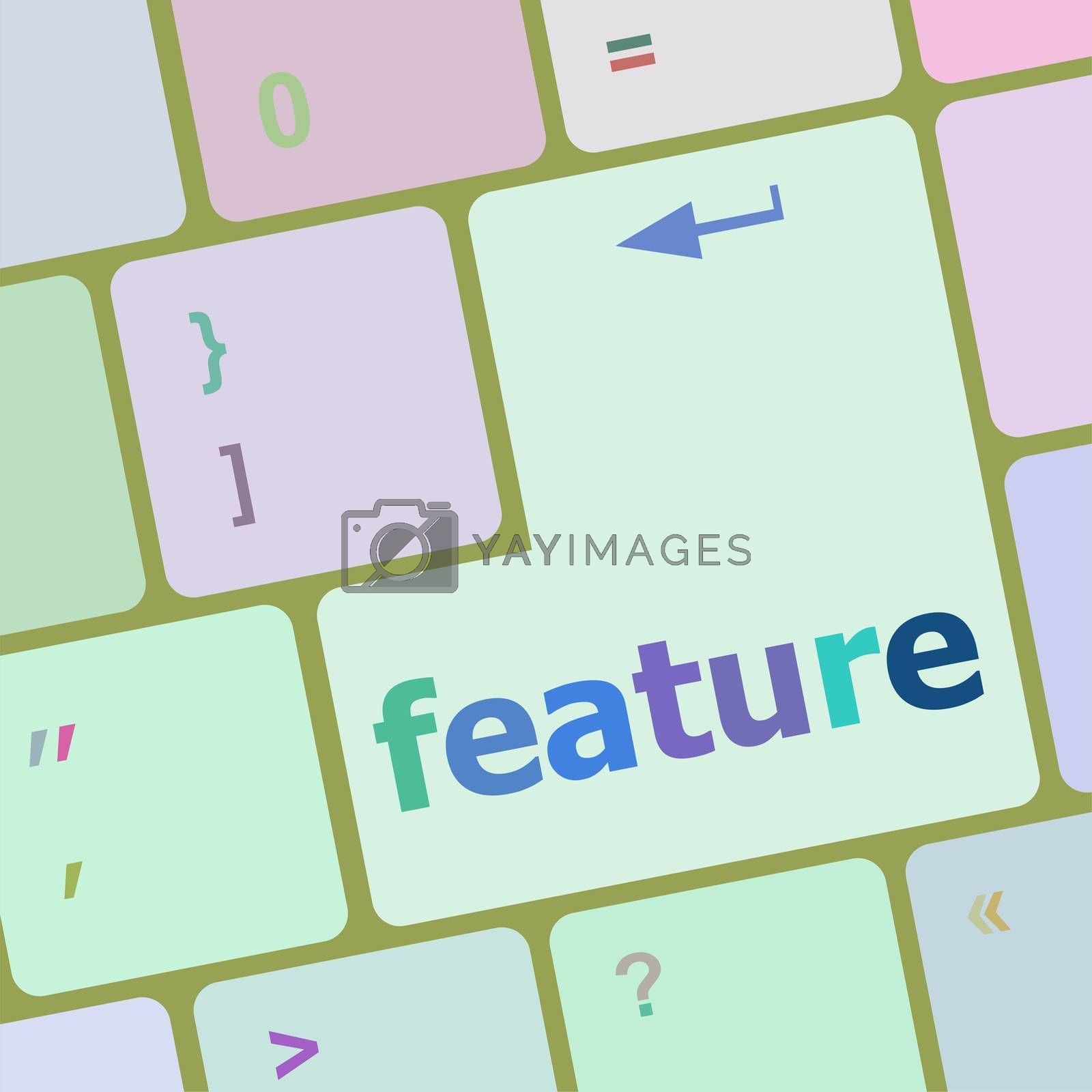 feature word on keyboard key, notebook computer button