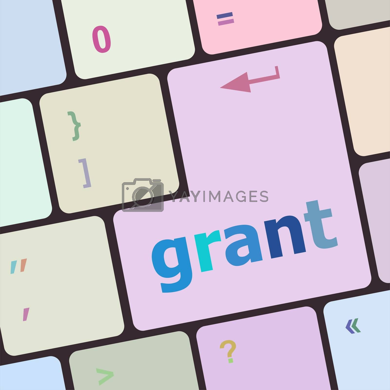 Computer keyboard button with grant button