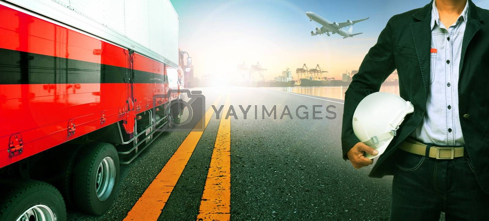 working man ,truck transport in import ,export ship port harbor and freight cargo plane flying above