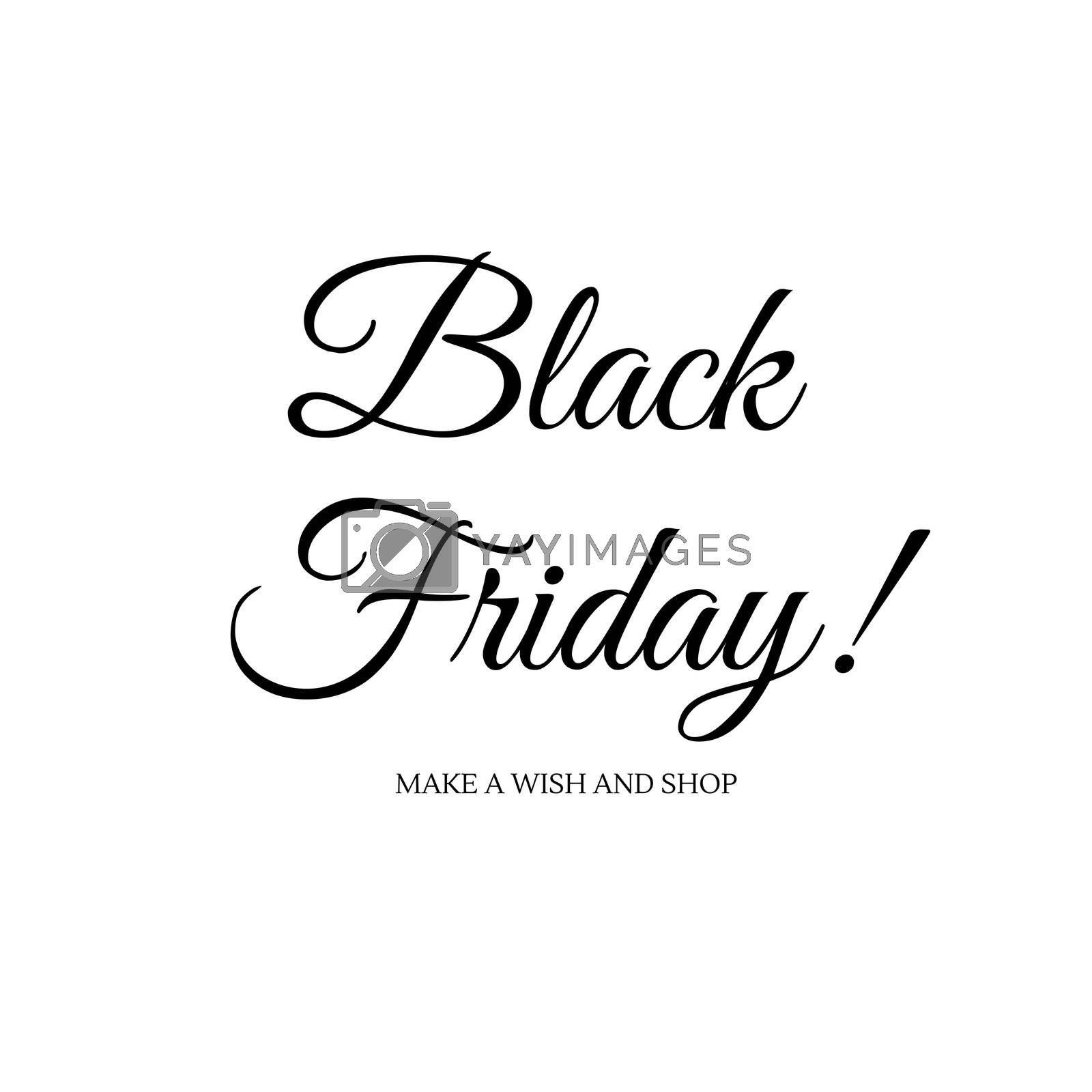 Enjoy Black friday luxury sign. Black and white typography for Shops marketing by Lordalea