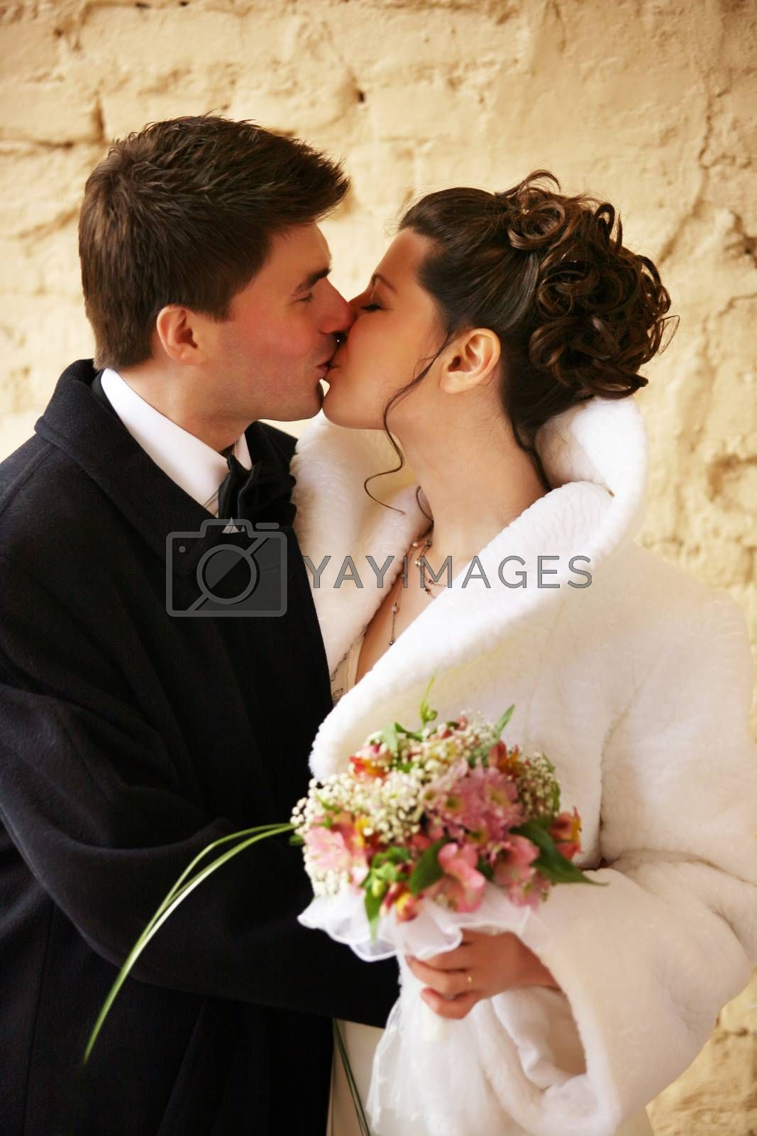 Beautiful the bride and the groom kiss