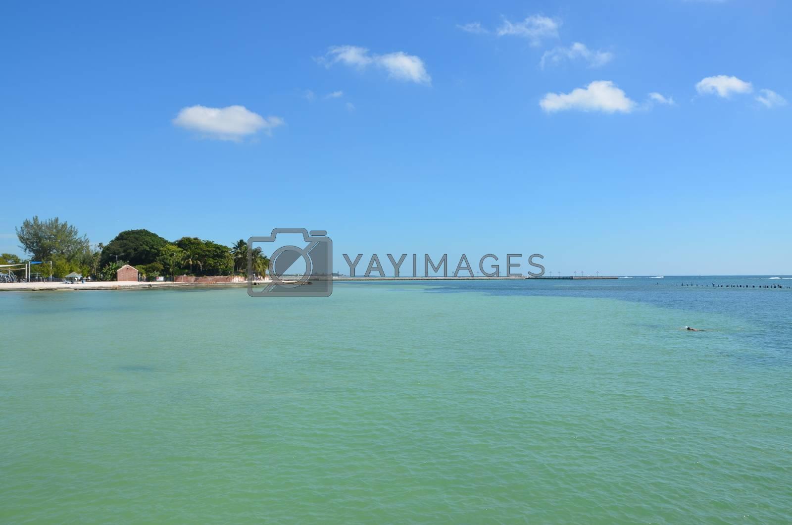 Key West, Florida beach scene in the late summer.