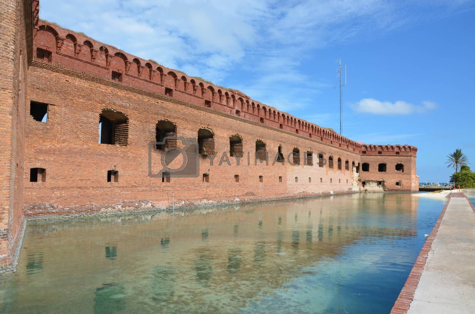 fort Jefferson wall. This is an old fort located on the island of Dry. Tortugas. This is off the coast of Florida.It served as fort and prison during the Civil War.