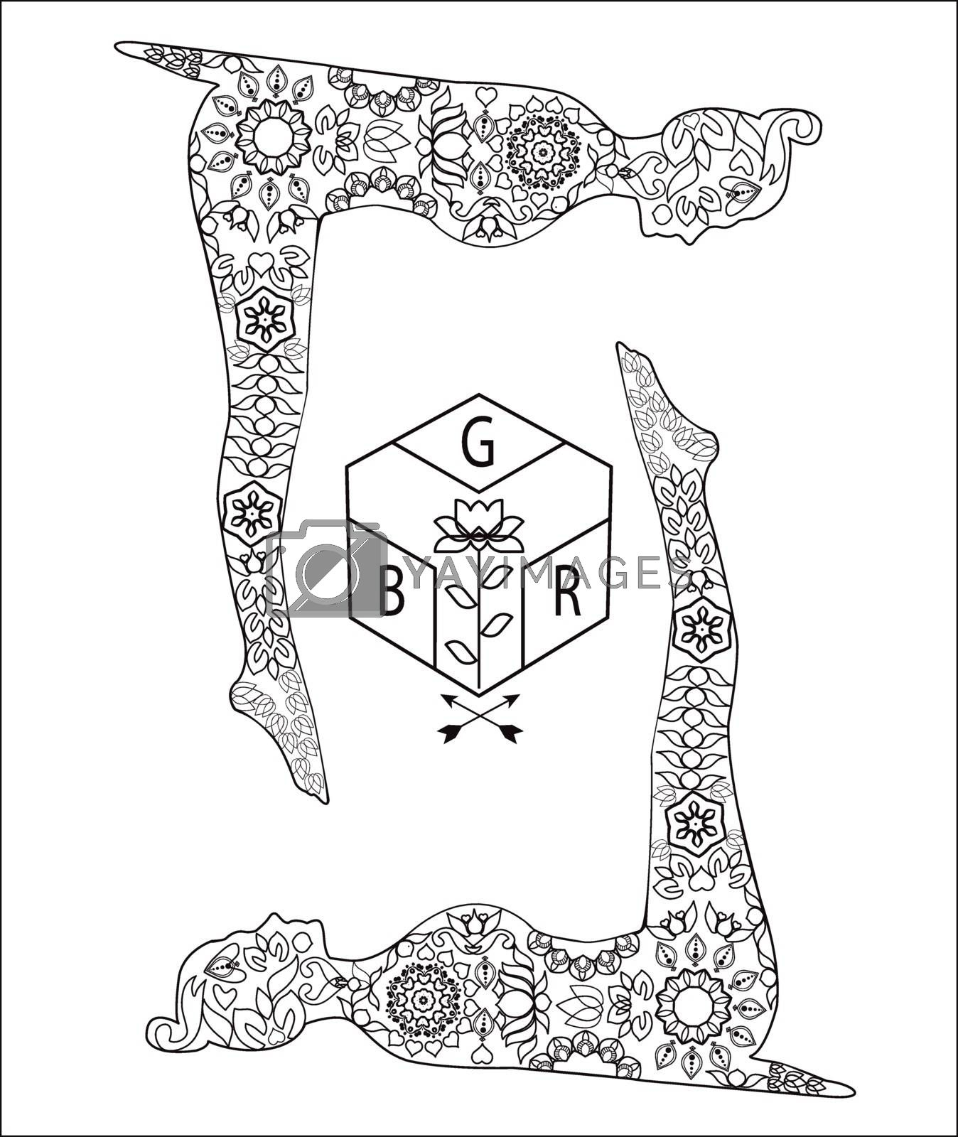 Yoga and meditation coloring book for adults With Yoga Poses and lotus logo.