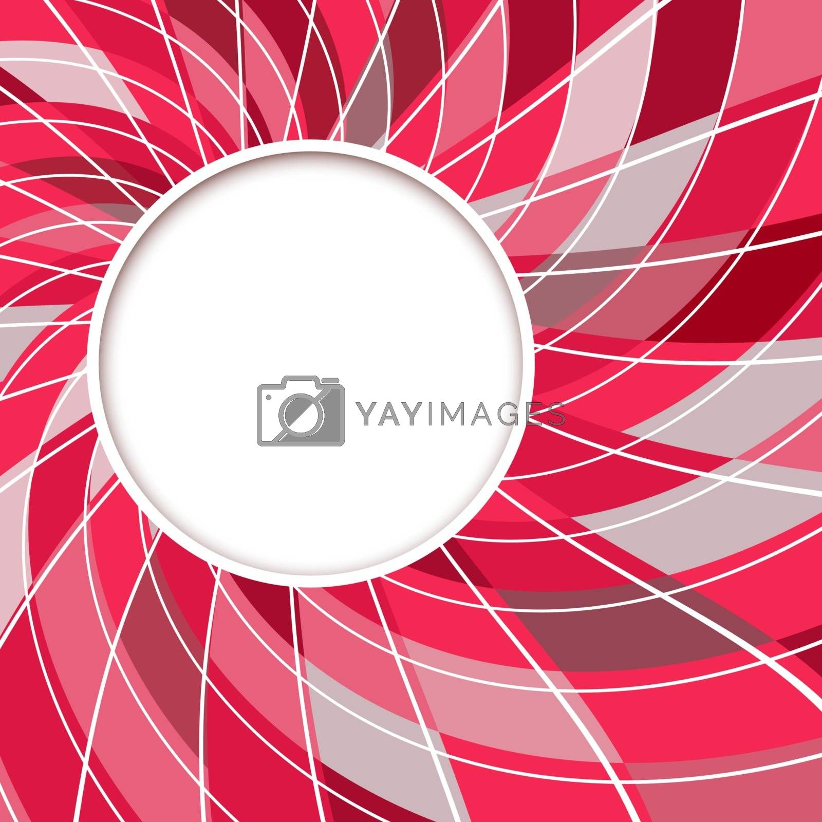 Abstract white round shape with digital red and grey pattern. Vector background