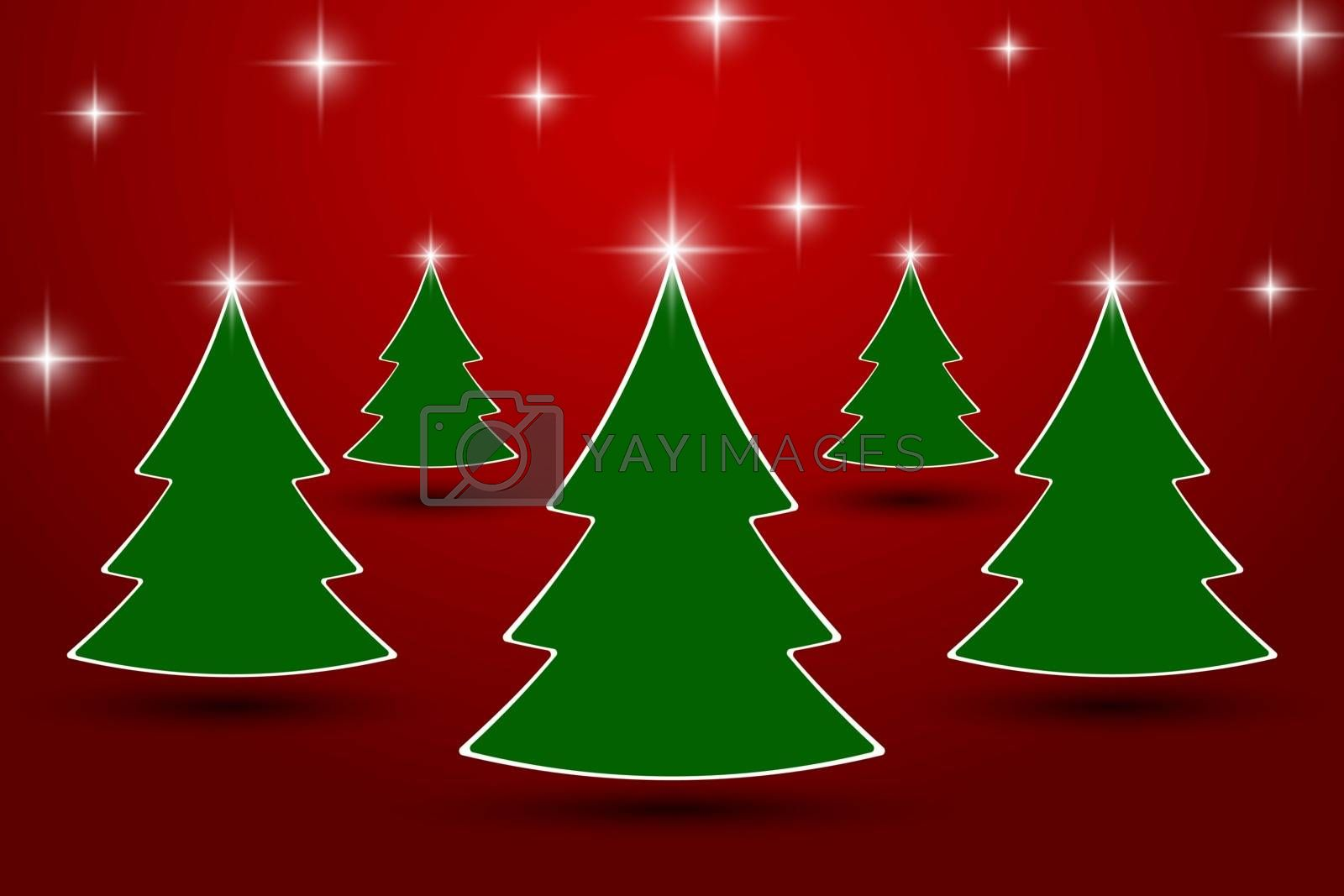 xmas tree with sparkling start line at red studio room,Holiday greeting card