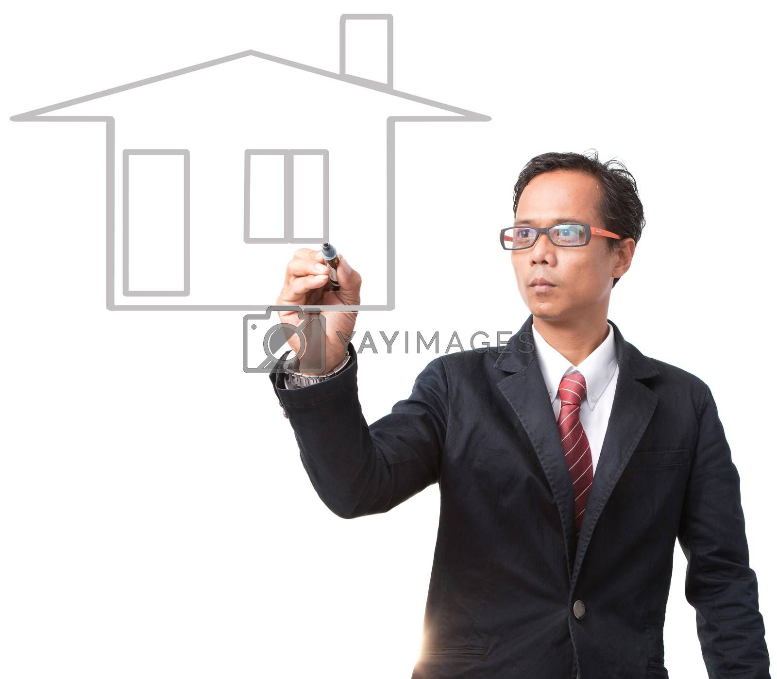 young businessman writing home outline isolated on white background use for housing topic