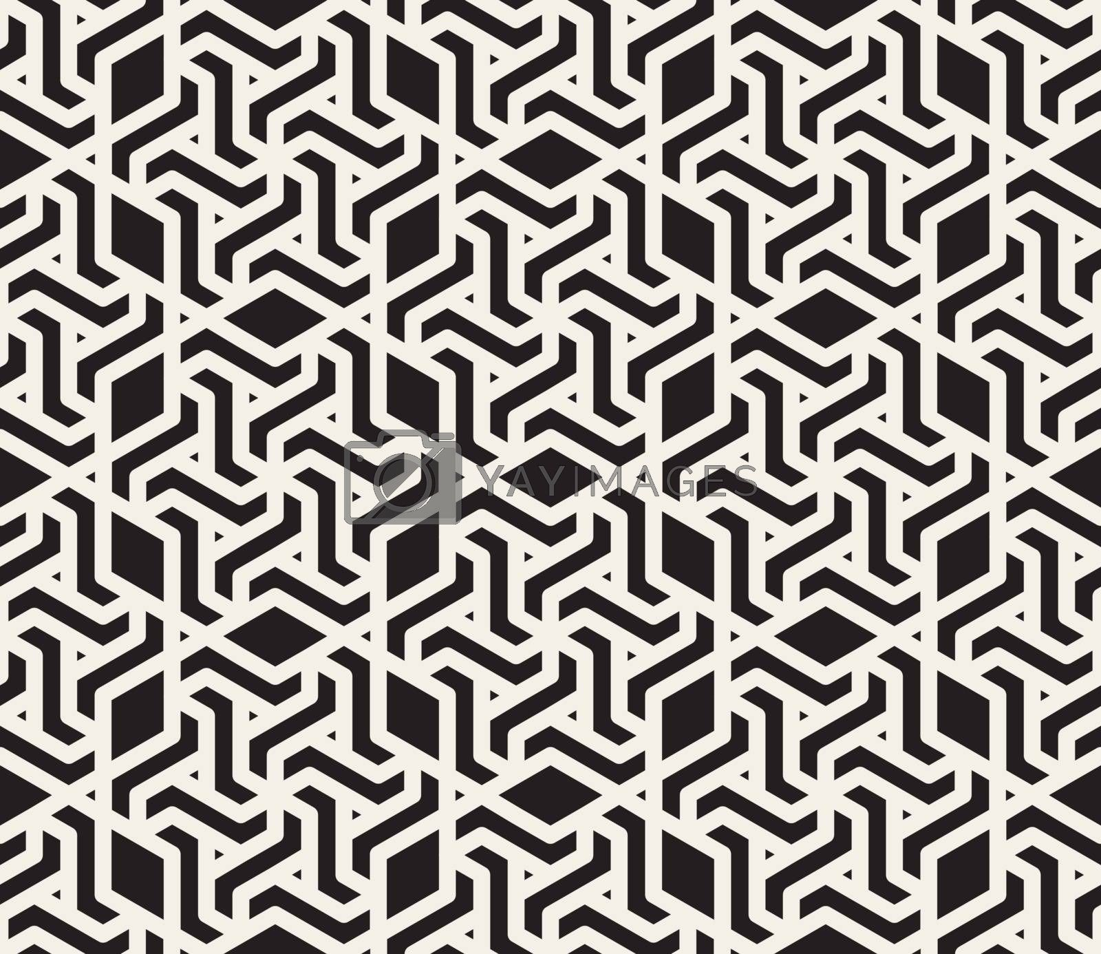 Vector Seamless Black and White Lace Pattern. Abstract Geometric Background Design
