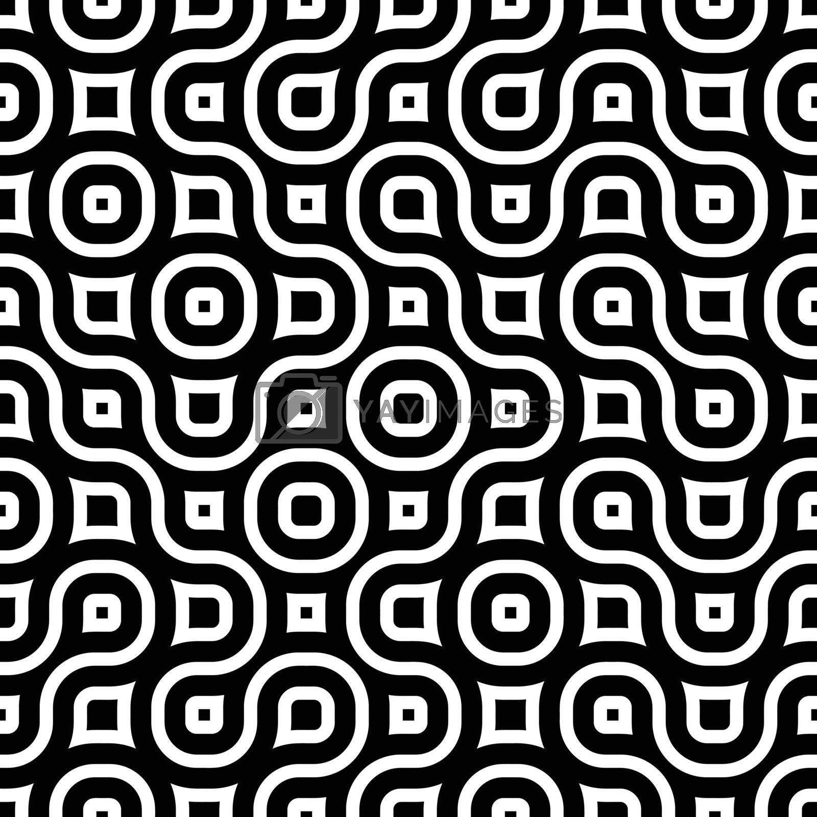 Vector seamless black and white tangled round stripes geometric vintage pattern abstract background. perfectly suited for wallpaper, web design, textile, fabric