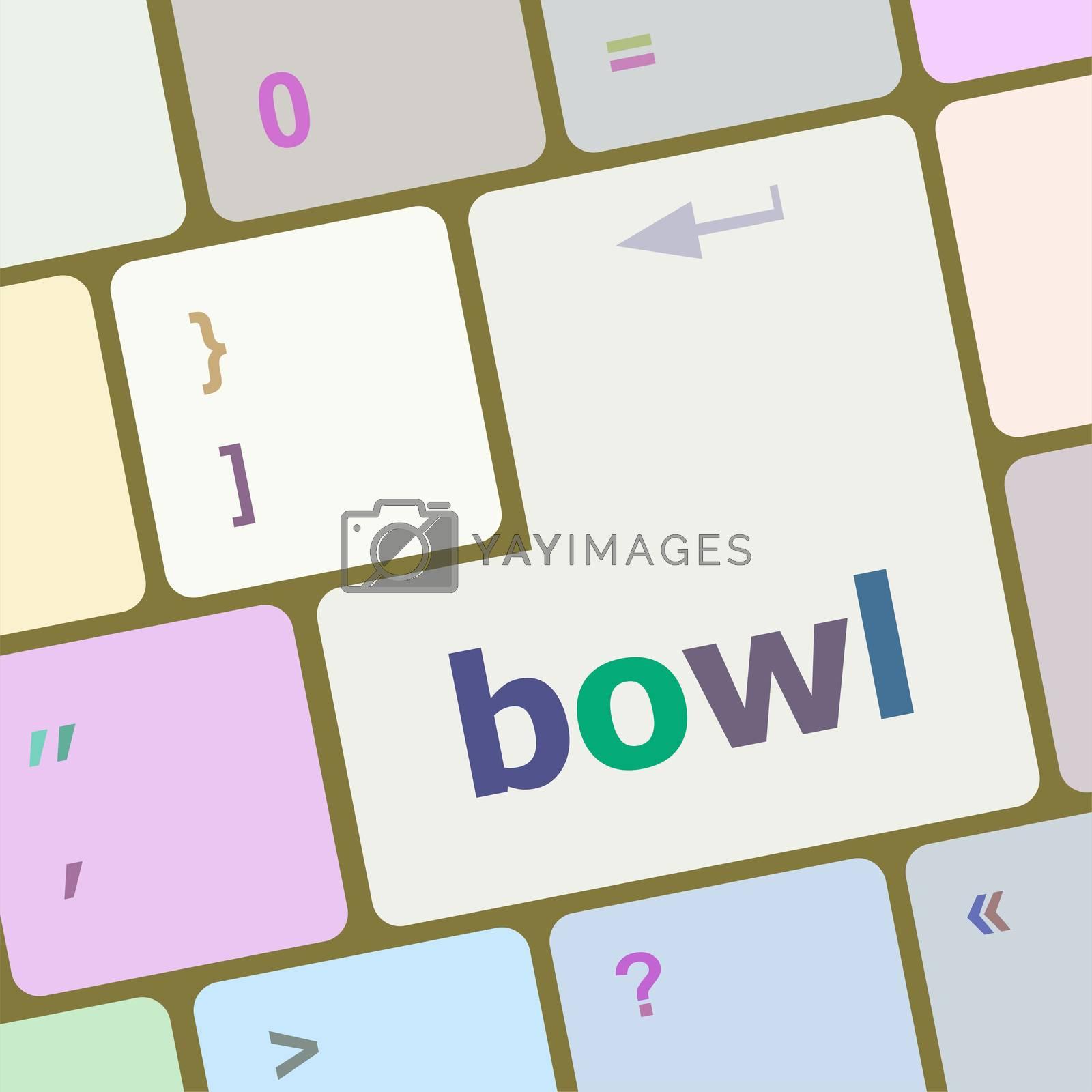 bowl word on computer pc keyboard key