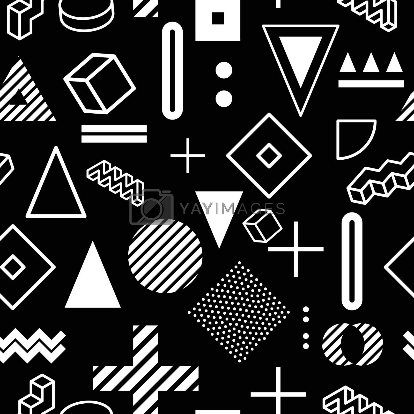 Geometric black and white pattern for fashion and wallpaper. Memphis style for fashion