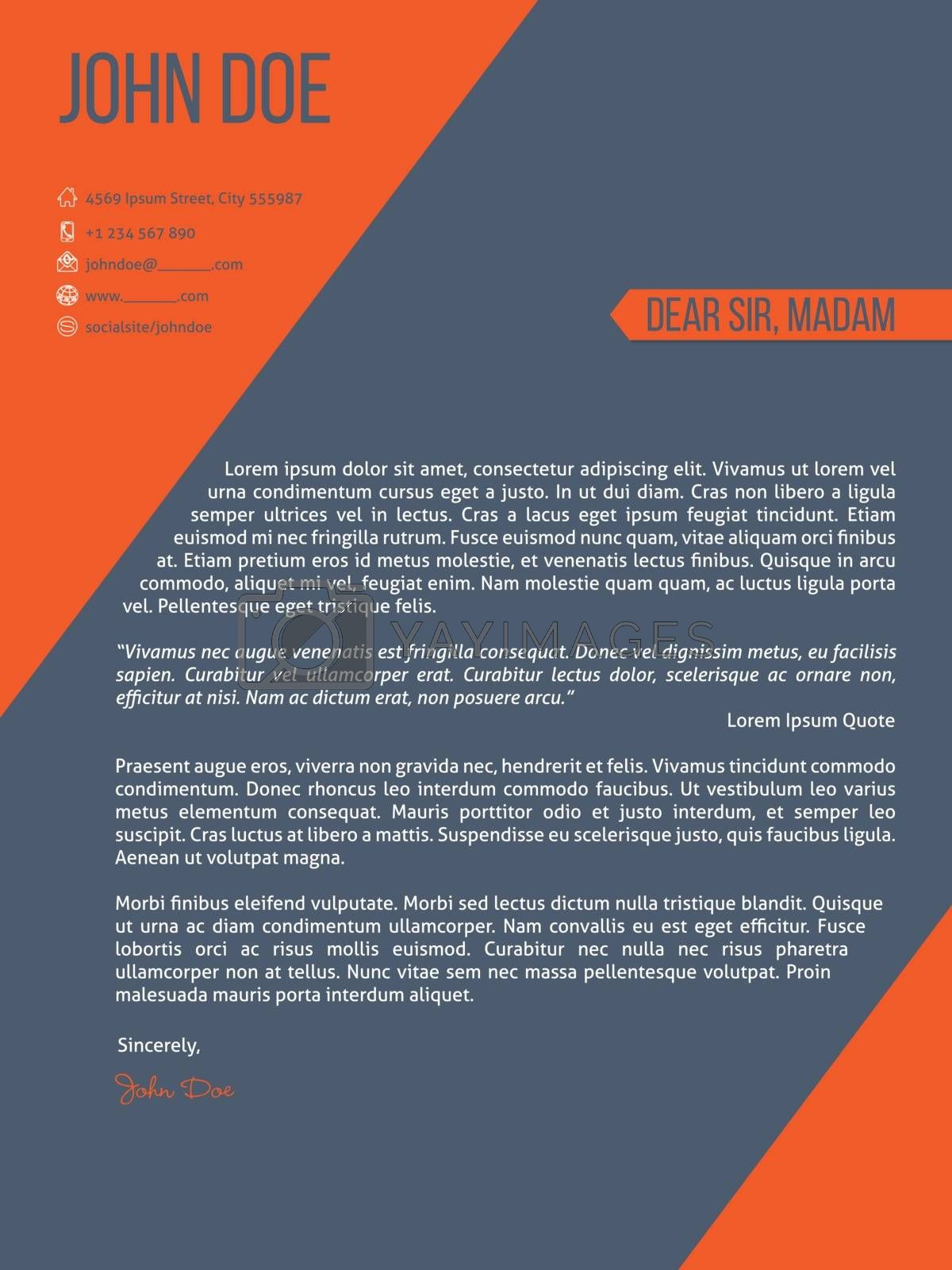 Cover letter resume cv template with orange stripes by vipervxw
