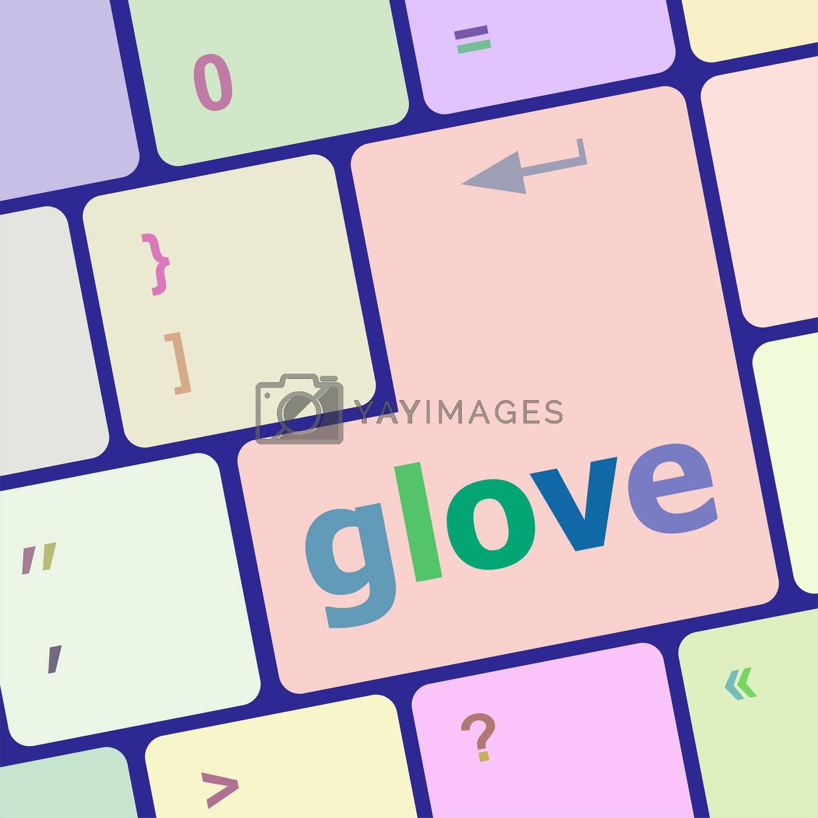 glowe word on keyboard key, notebook computer button