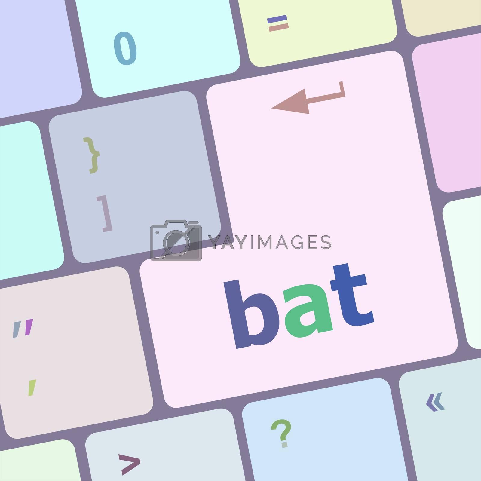 bat word on keyboard key, notebook computer