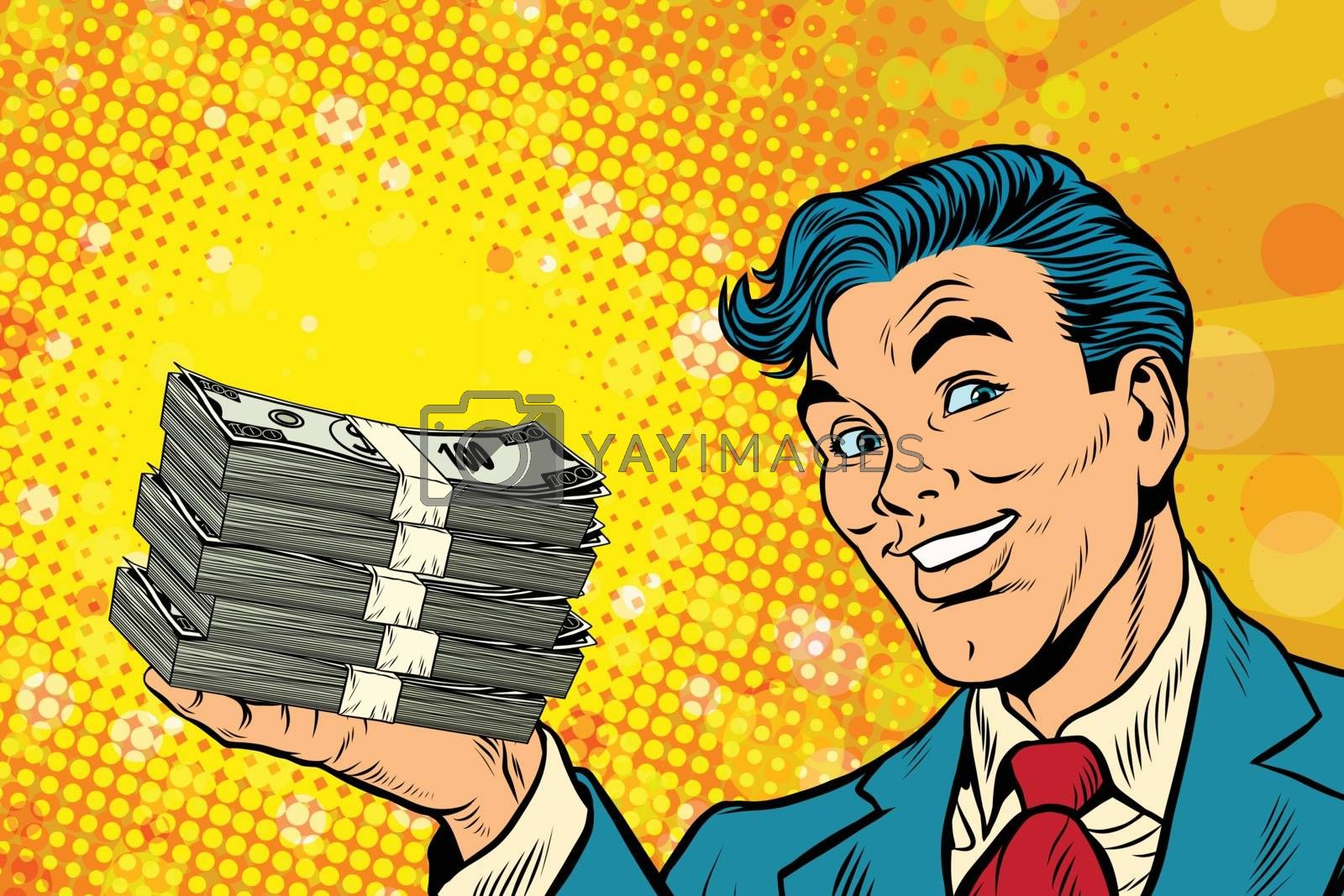 Financial success businessman with money by rogistok