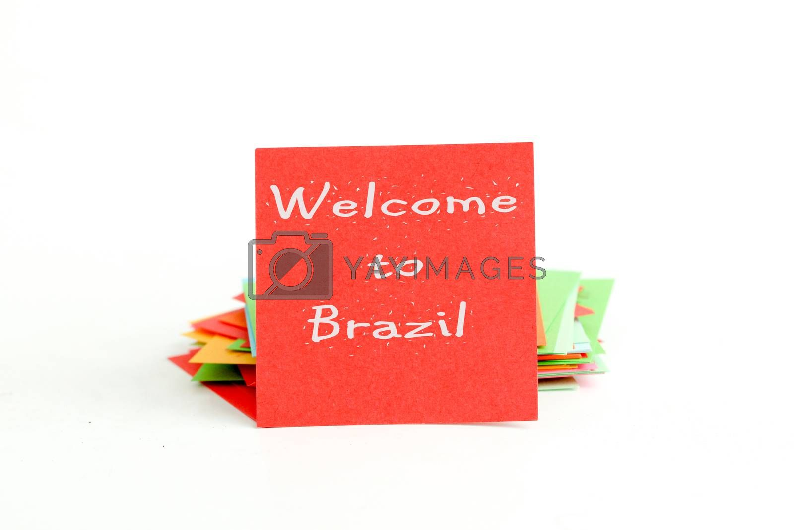 picture of a red note paper with text welcome to brazil
