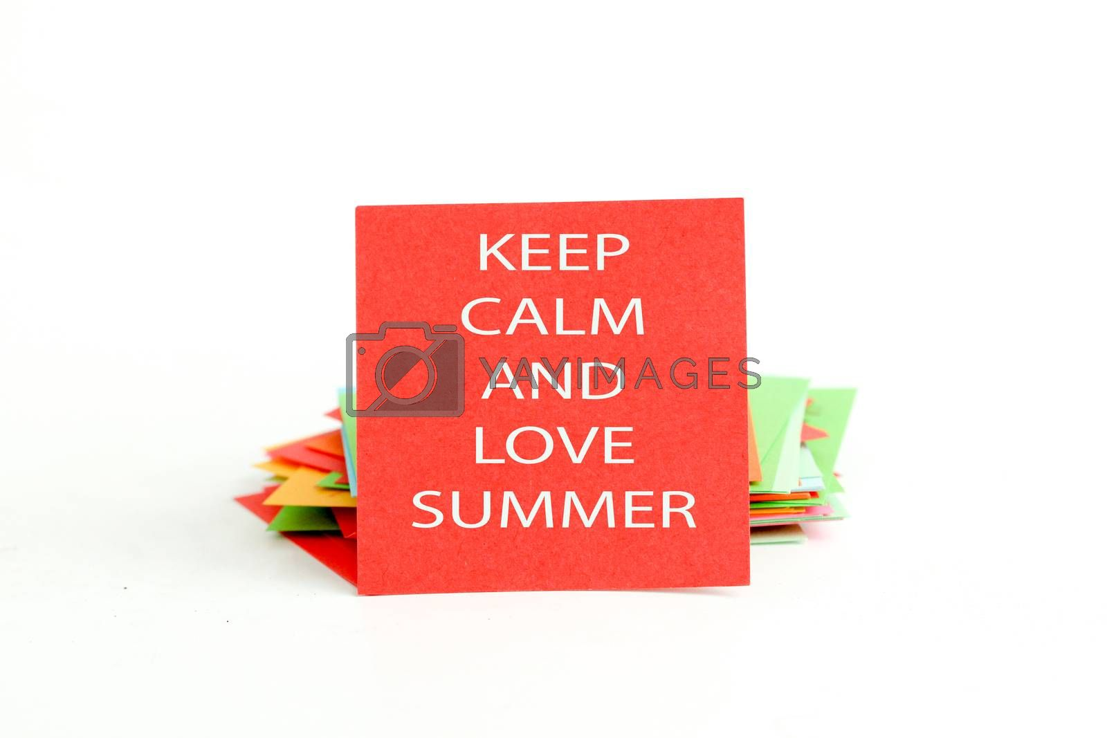 picture of a red note paper with text keep calm and love summer