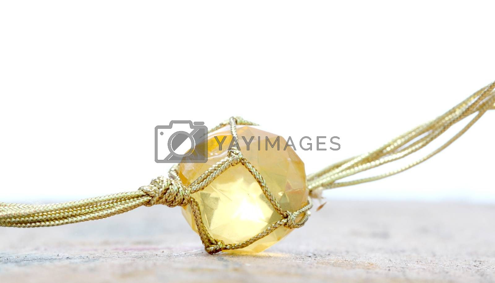 necklace with cheap plastic gems with golden colored rope by nehru