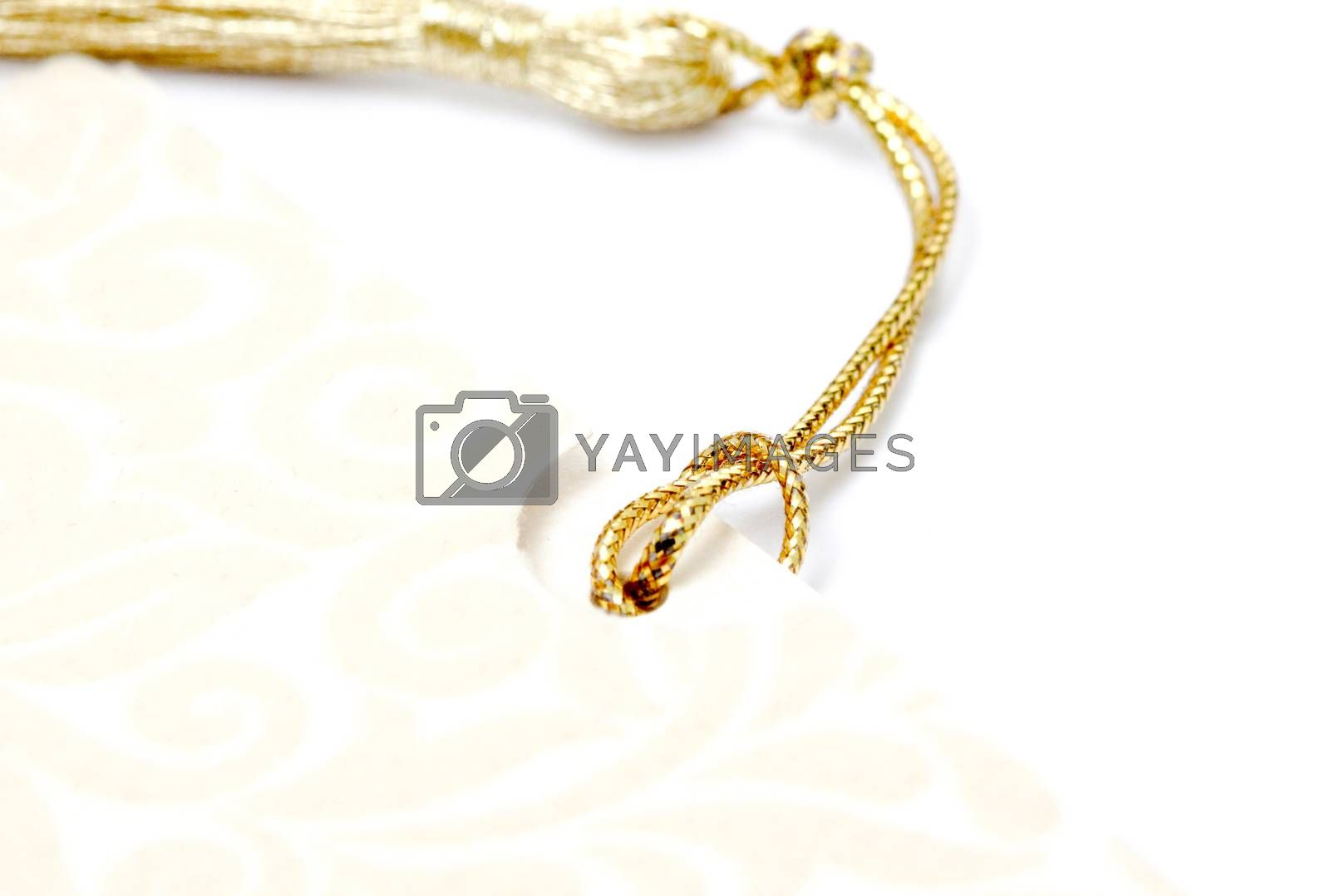 picture of a gold colored rope on white
