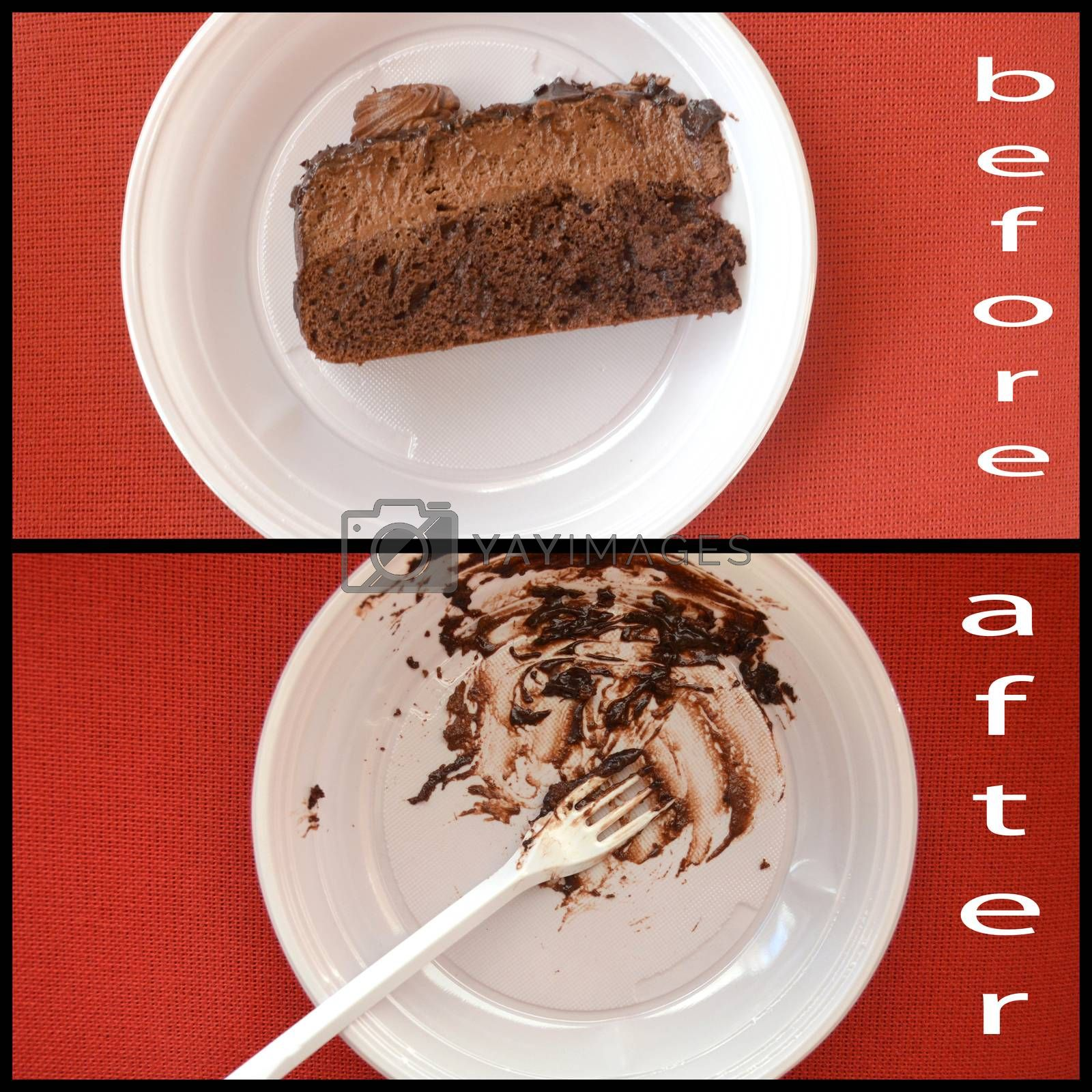 Dark chocolate cake, before and after. disposable plate,