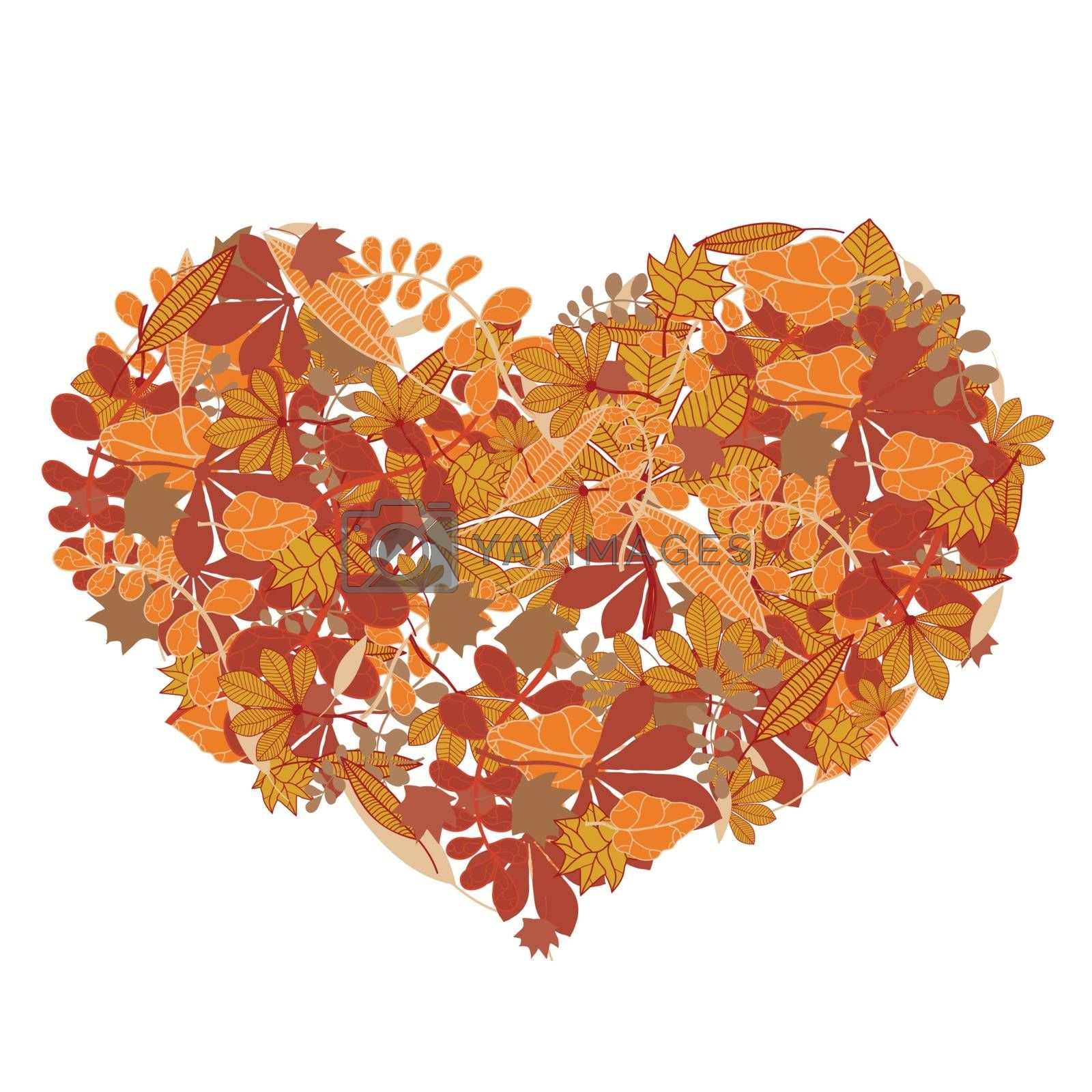 Heart shape made out of colourful autumn leaves