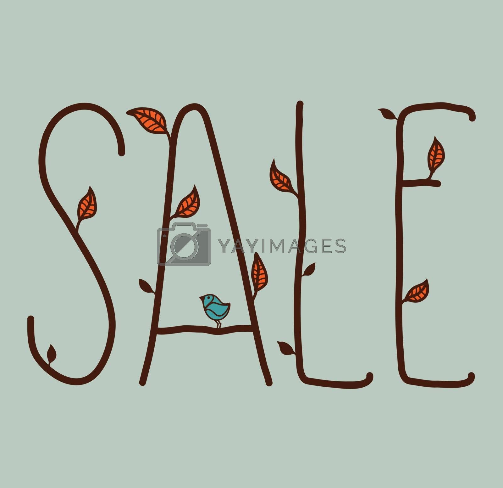 Sale sign with autumn leaves and a bird on a blue gray background