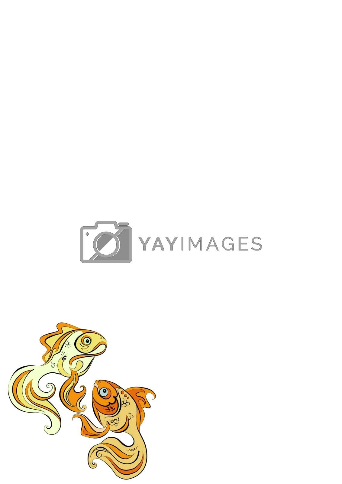 Illustration of two stylized gold fish on white background by Madhourse