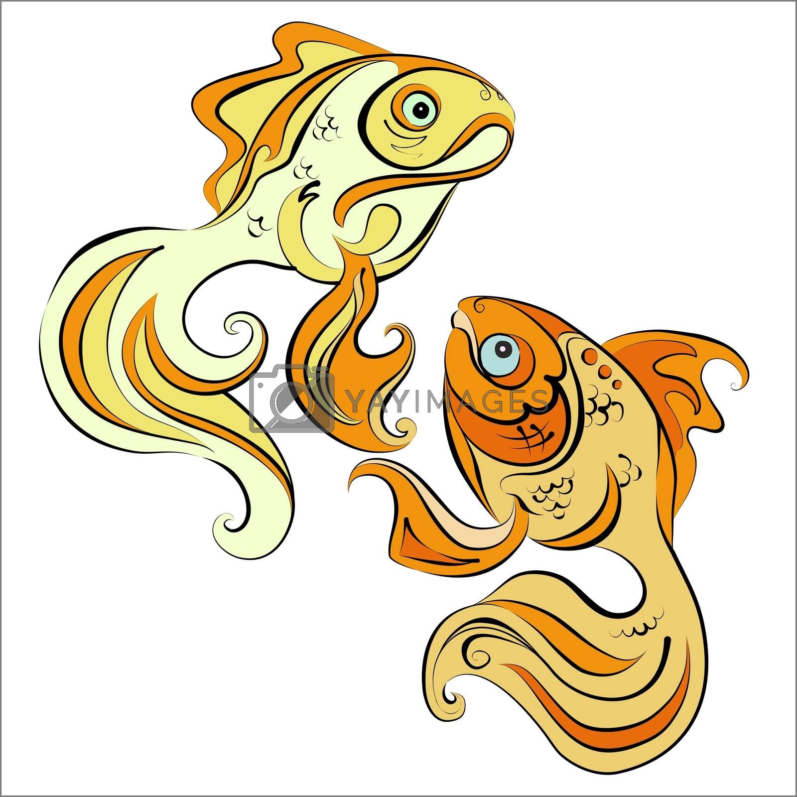 Illustration of two stylized gold fish on white background