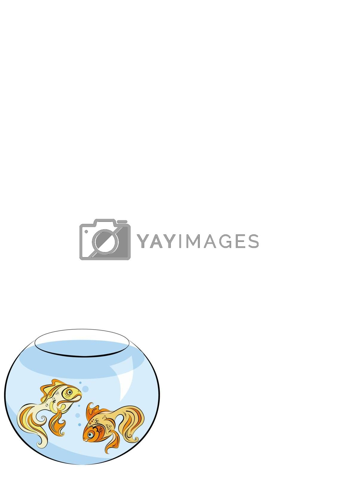 Illustration of two stylized Golden fish in the aquarium by Madhourse