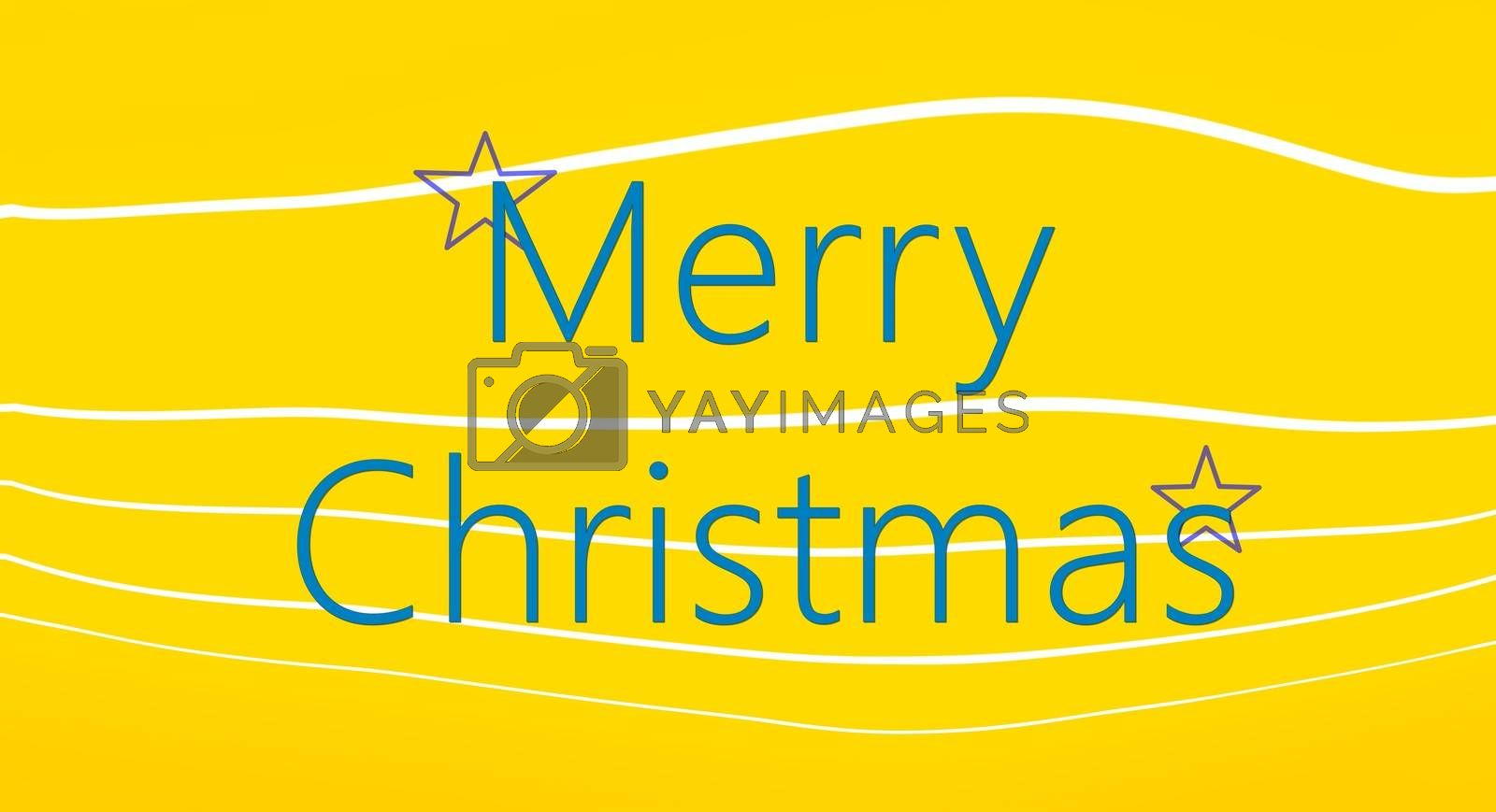 picture of a Merry Christmas card on yellow background with white lines
