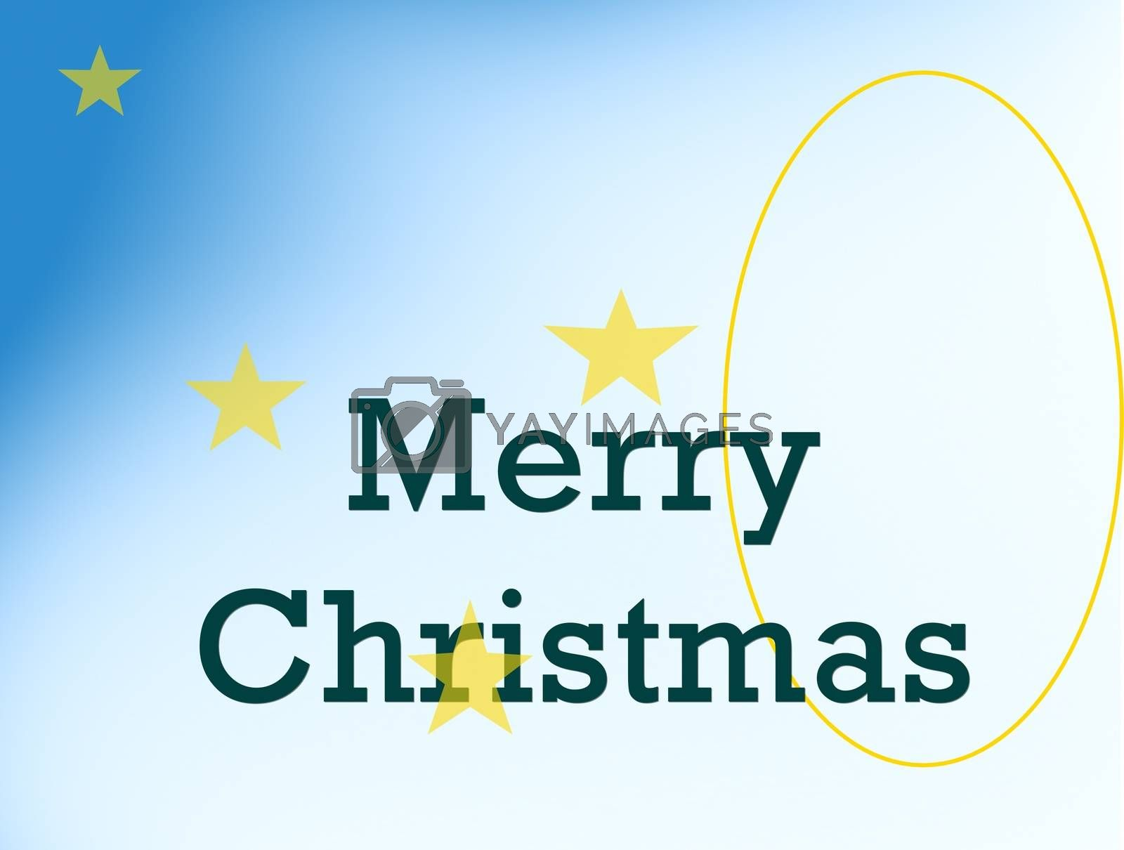 picture of a Merry Christmas card on blue white gradient background