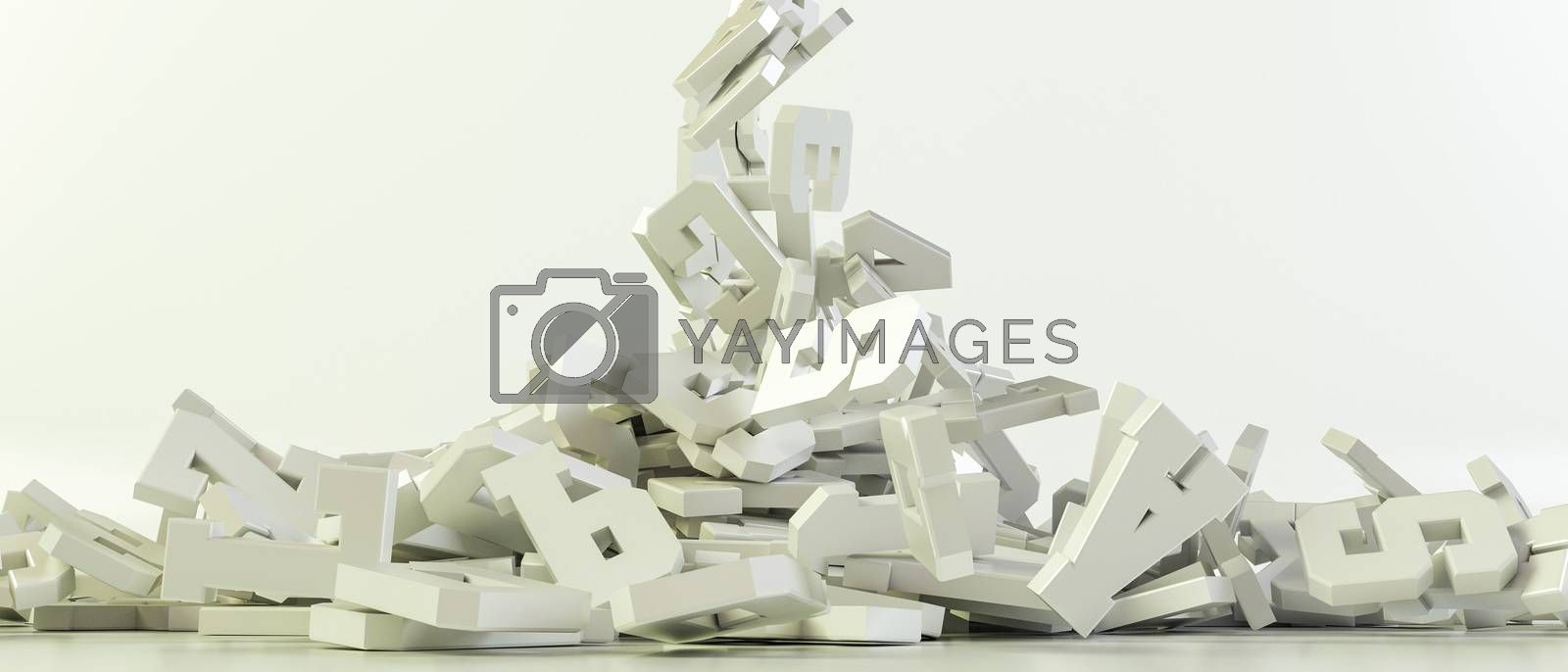 3d illustration of falling letters isolated on white background