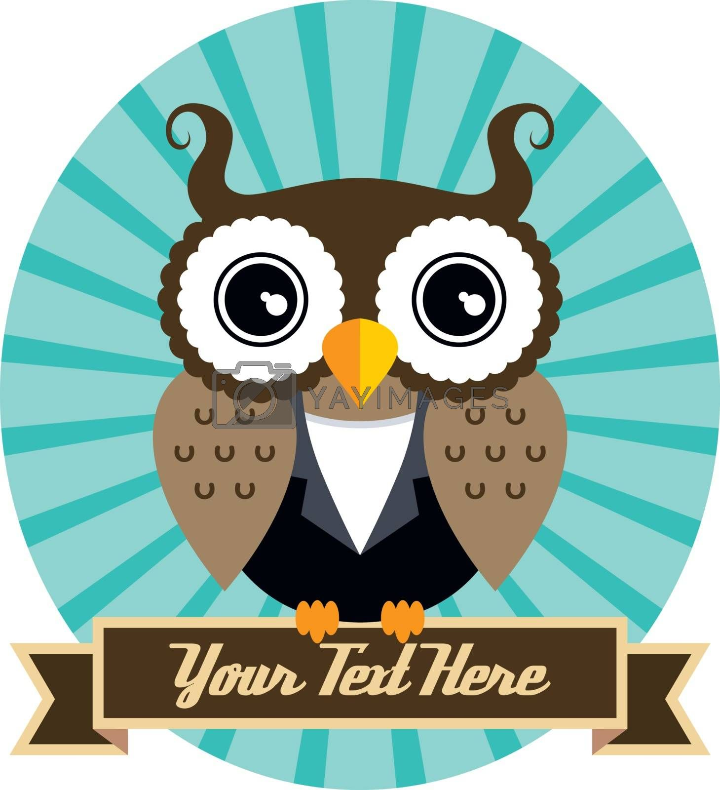 cool owl art theme vector graphic illustration