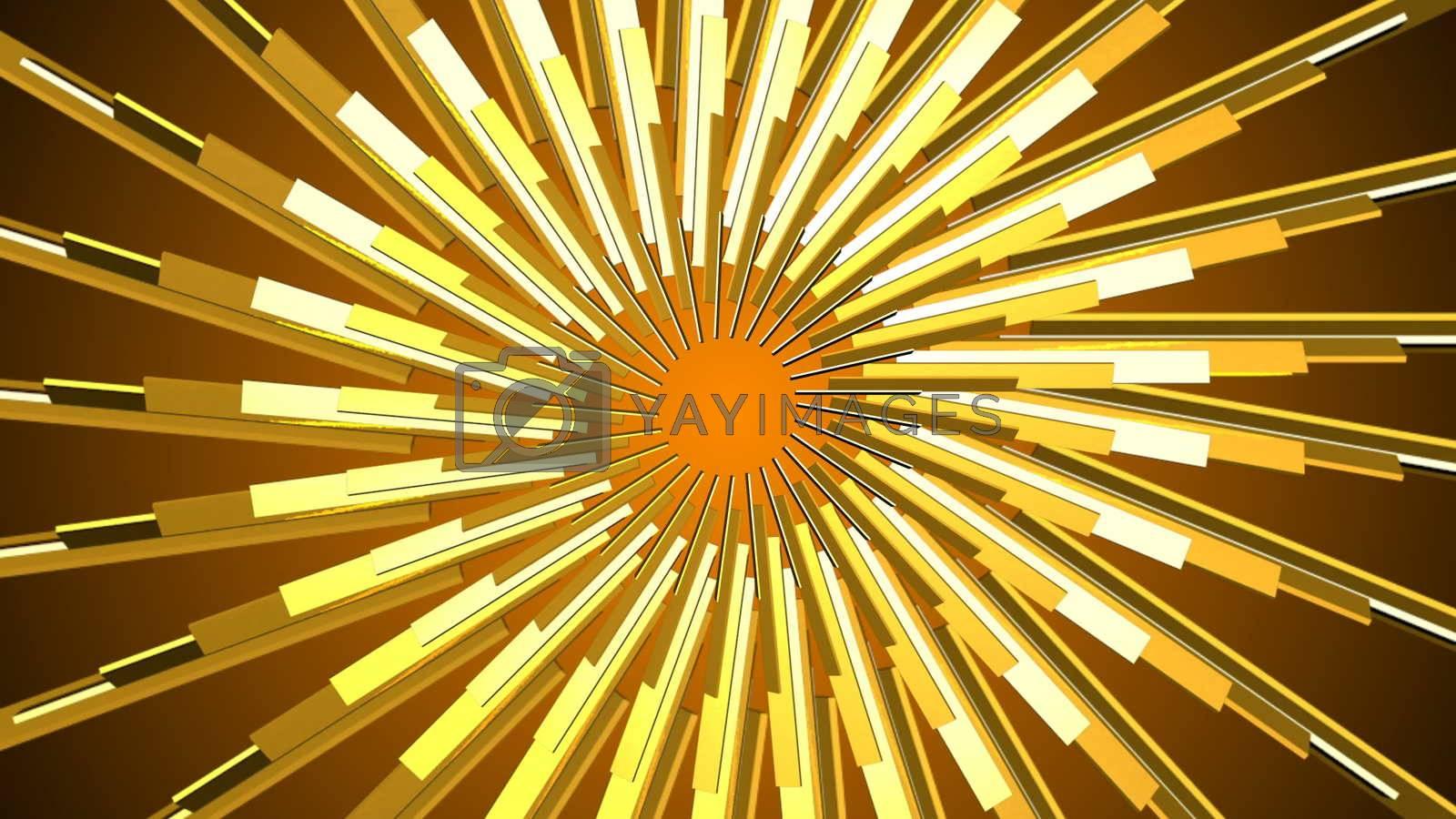 Abstract gold element. Fractal golden background. Mirror