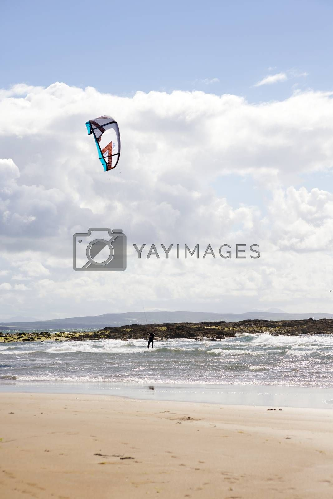 fast kite surfer on beautiful waves at beach in ballybunion county kerry ireland on the wild atlantic way