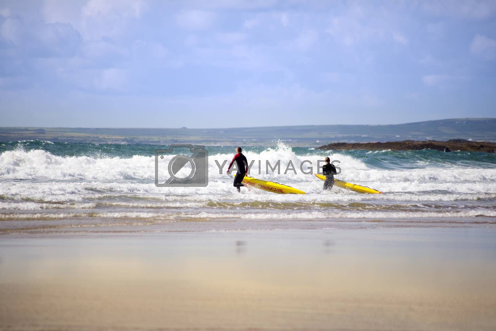 lifeguards training in the surf on ballybunion beach county kerry ireland