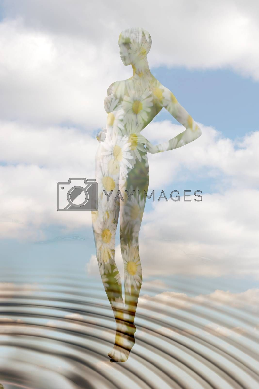 female mannequin with flowers representing mother nature