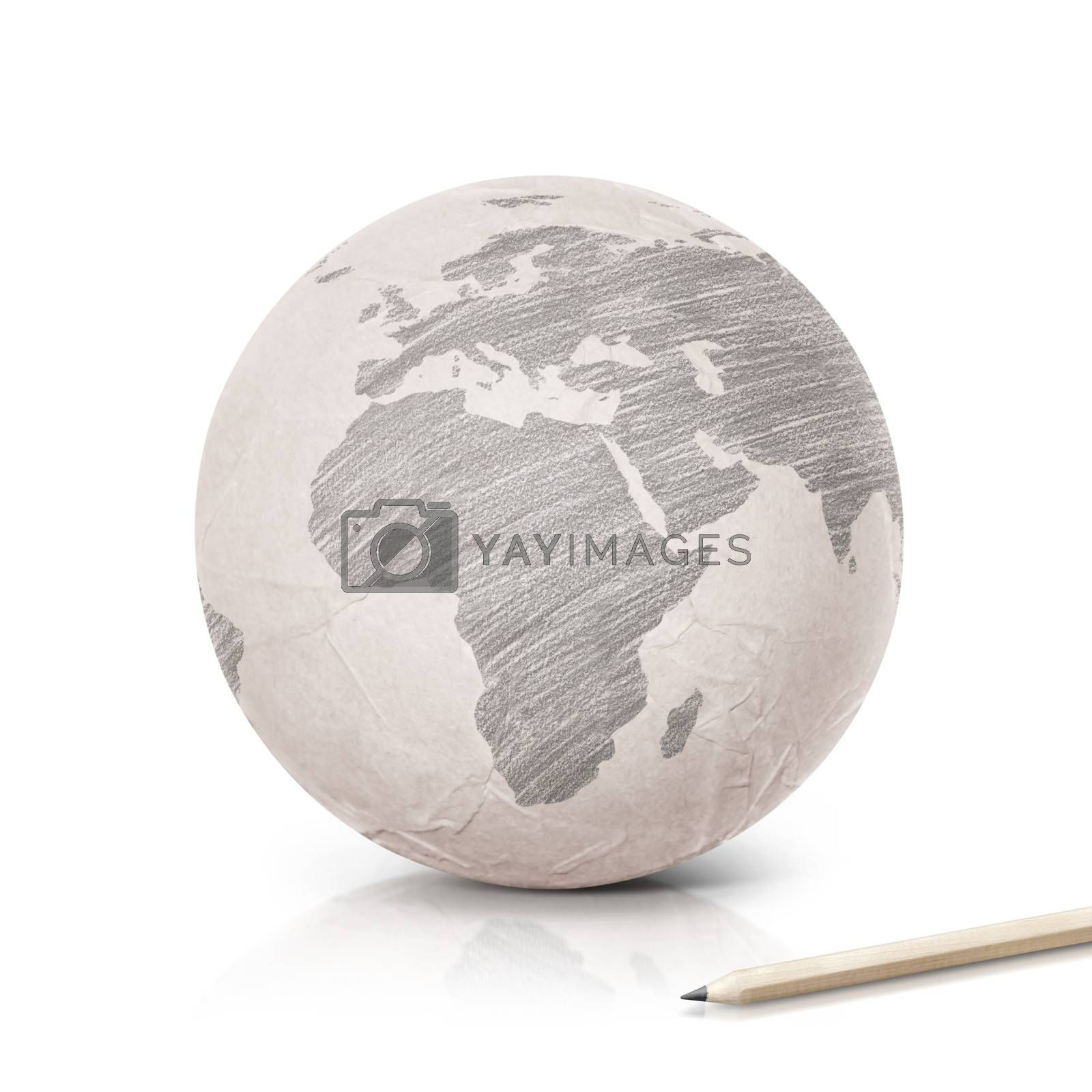 Shade Europe map on paper globe on white background
