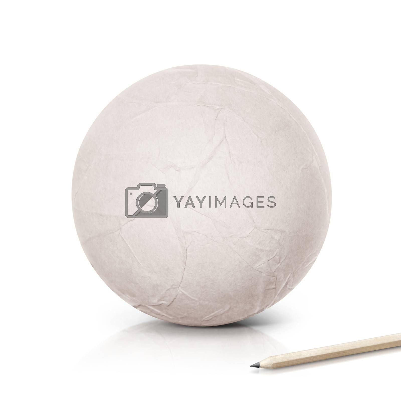 Paper ball with pencil on white background