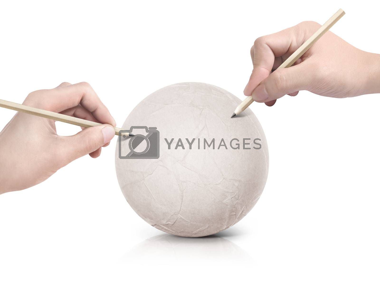 Two hand drawing map on paper ball on white background