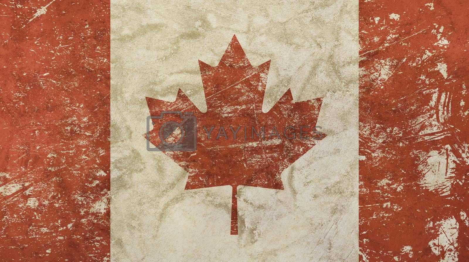 Old grunge vintage dirty faded shabby distressed Canadian Canada flag with red maple leaf over white background