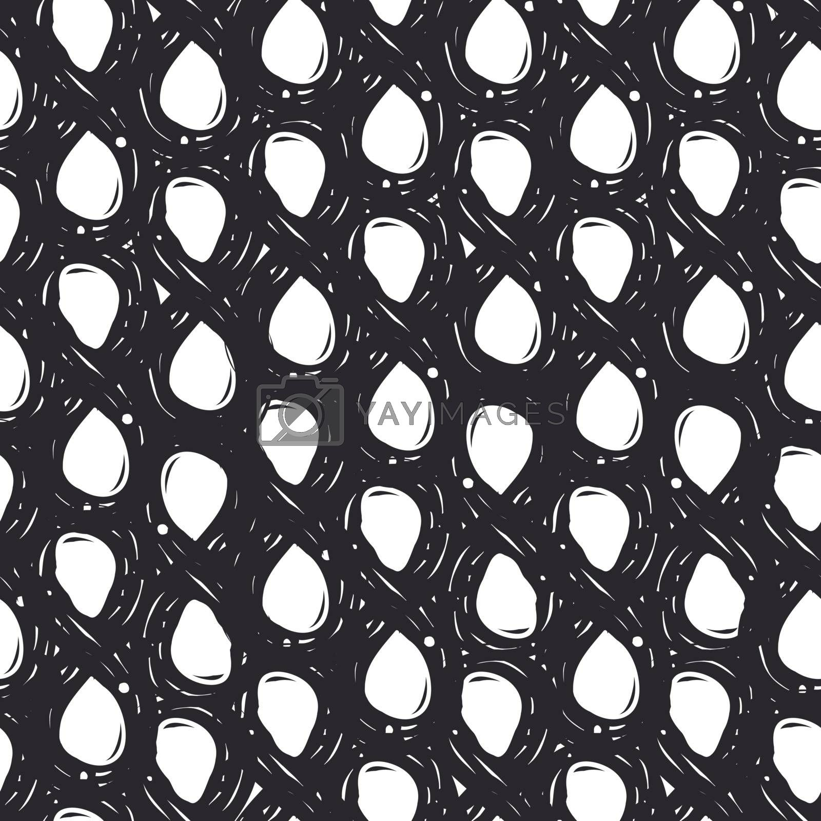 Hand drawn fashion black grungy seamless pattern