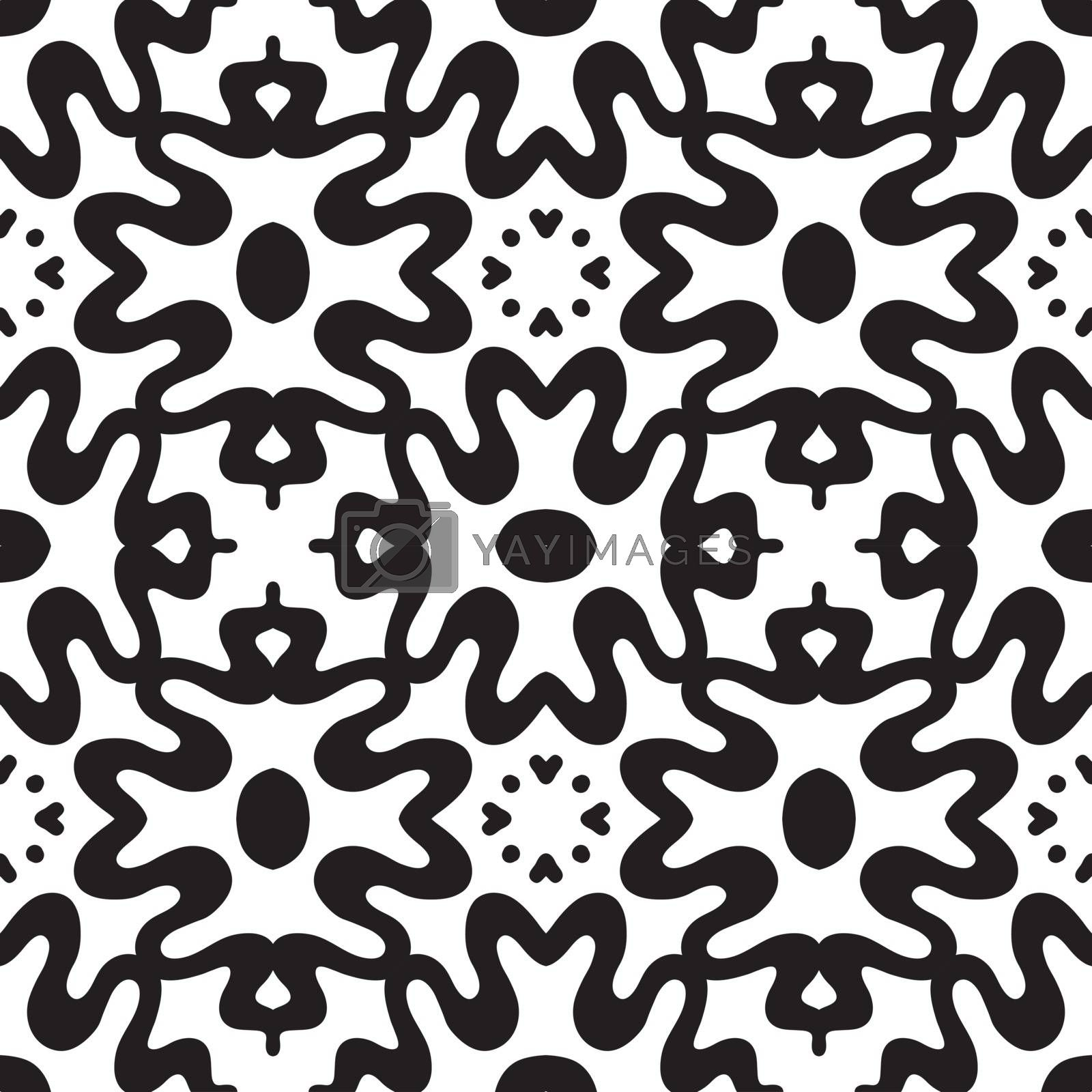 Abstract geometric seamless pattern square, lines, heart, flowers. Symmetry black and white background