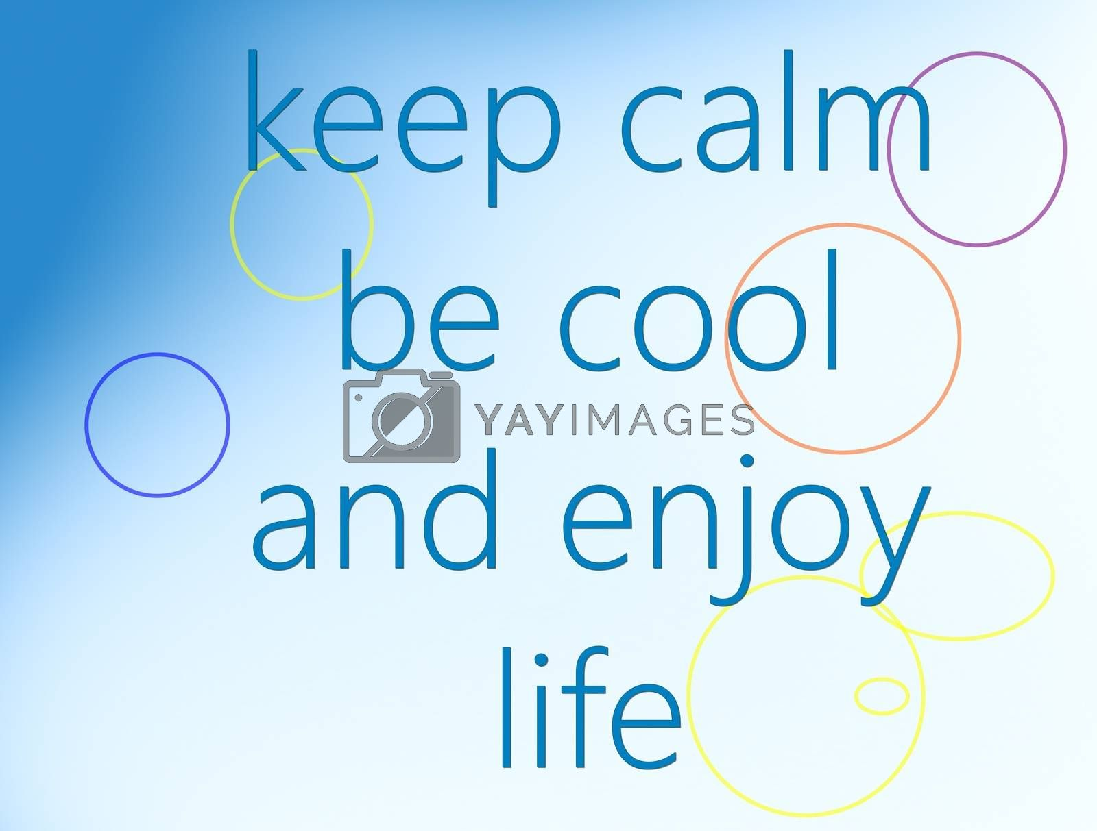 picture .text on a gradient blue white background. keep calm