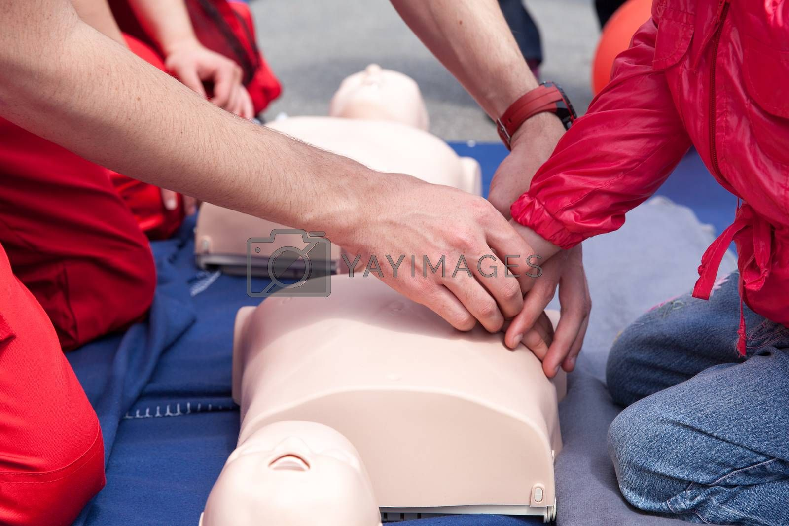 Cardiopulmonary resuscitation - CPR. Chest compression.